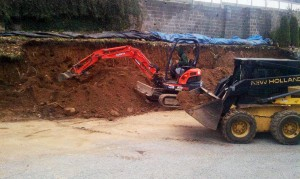 Excavation for masonry construction project